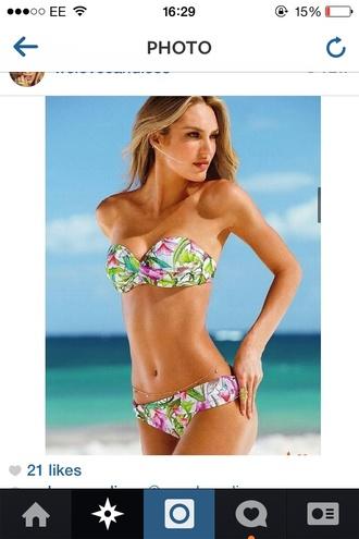 floral swimwear white pink candice green swimwear