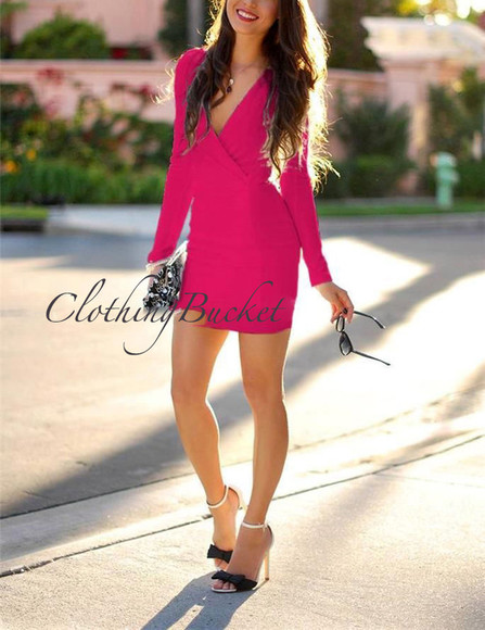 v-neck blogger hot pink hot pink dress body-con dress body-con long sleeve dress v-neck dress sexy dress trending now trendy