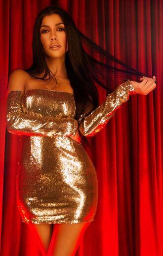 dress gold gold dress mini dress off the shoulder metallic kourtney kardashian kardashians bodycon dress