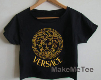 New versace medusa gold crop top tank top women black and white tee shirt