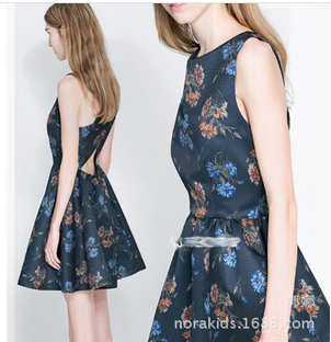 new 2014 Spring Summer Brand Women's Sexy Back Cross Shoulder Strapless Dress Flower Grass Printted Crew Neck Sleeveless Dresses   Amazing Shoes UK