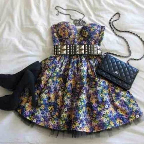 necklaces dress floral short studded belt high heels black navy purse shoes