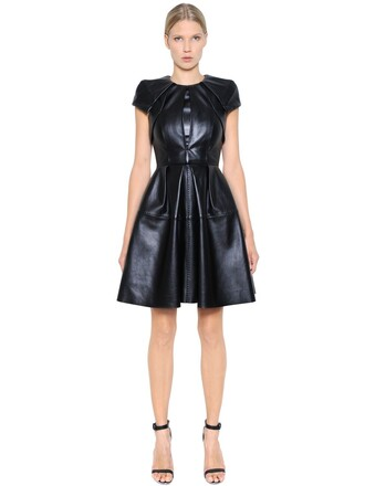 dress leather dress pleated leather black