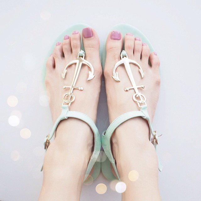 Mint Green Anchor Sandals - $69
