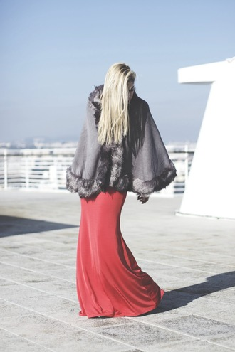 room91 blogger red dress cape long dress