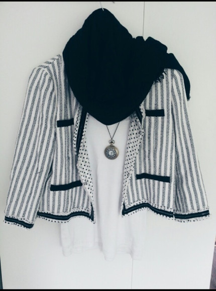 jewels white clock shirt stripes jacket black blogger hipster nice combination