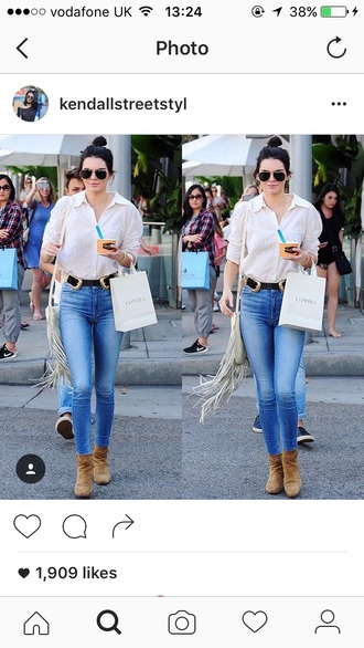jeans blouse belt boots summer fall outfits white blue pink brown kendall jenner