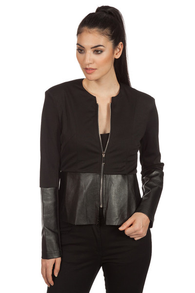 Leather Effect Peplum Jacket