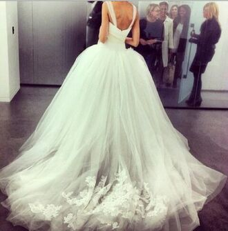 dress white poofy bride wedding clothes wedding dress