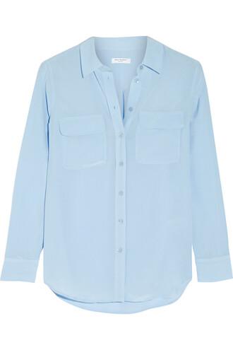 shirt silk blue sky blue top
