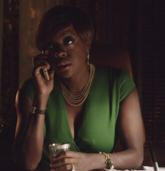 dress how to get away with murder viola davis annalise keating green necklace earrings