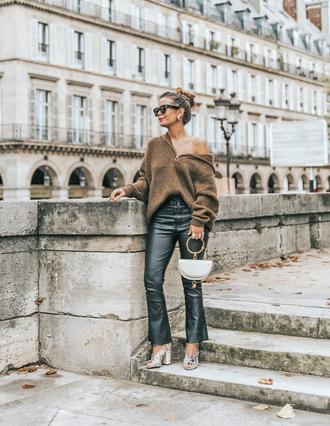sweater tumblr brown sweater pants black pants leather pants black leather pants cropped pants shoes mules sunglasses bag handbag white bag