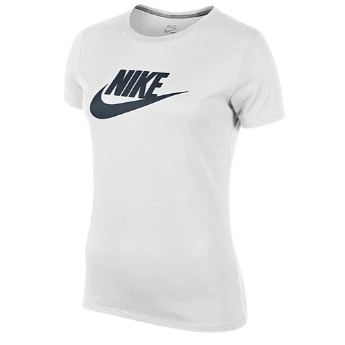 Nike Icon S/S T-Shirt - Women's - Casual - Clothing - White/Dark Grey Heather/Armory Navy