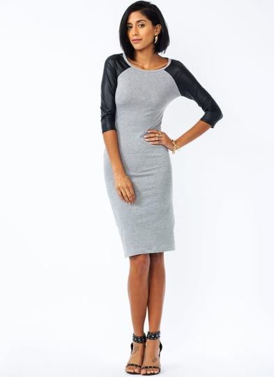 Faux-Leather-Raglan-T-Shirt-Dress GREYBLACK - GoJane.com