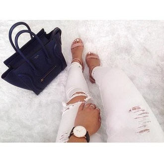 shoes pink sandals heels leather strap sandals summer jeans