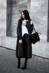 holy nights,blogger,pants,t-shirt,sweater,cardigan,shoes,jewels,winter outfits,fall outfits,long cardigan,black bag,boots