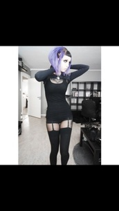 dress,top,goth,sexy shorts,black top,black dress,pastel goth,thigh highs,garter,sexy dress,outfit,cardigan,bolero,dark,black,fashion