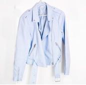 jacket,light blue moto jacket,pastel blue jacket,biker jacket,baby blue moto jacket,light pastel blue jacket