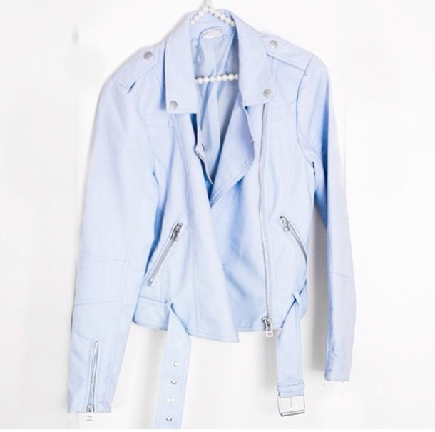 Jacket: light blue moto jacket, pastel blue jacket, biker jacket ...