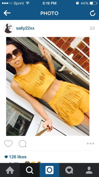top yellow yellow top two-piece cute top