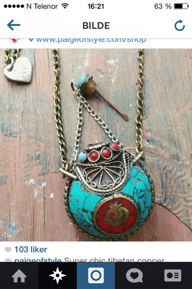 jewels necklace hippie blue neckles