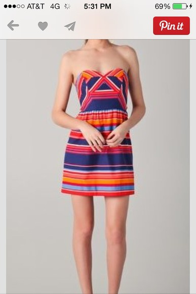 dress strapless dress summer dress stripes multi colored sweetheart neckline