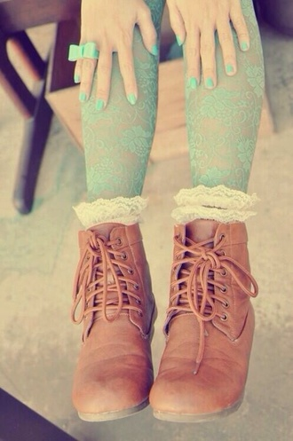 shoes boots lace ups tumblr pretty brown brown leather boots indie hipster socks tights