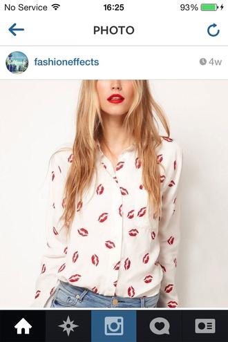 shirt blouse lips print romantic top buttondown white top