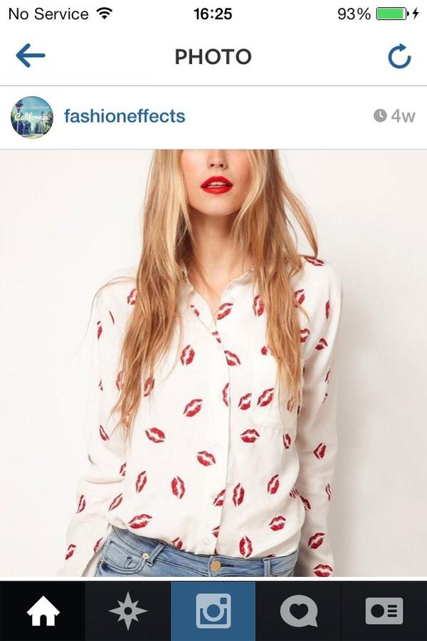 Sale! Hot Lips Print Button Down Top | DoubleLW