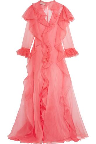 gown silk pink dress
