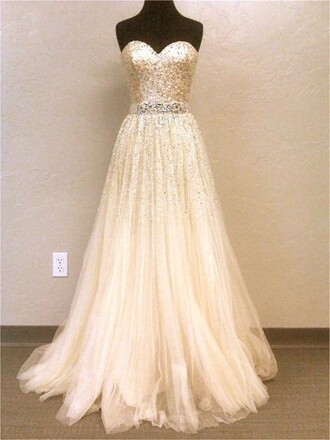 dress long dress gold beige creme prom dress prom glittter nice pretty beautiful princess darling queen wonderful