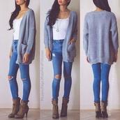 jeans,cardigan