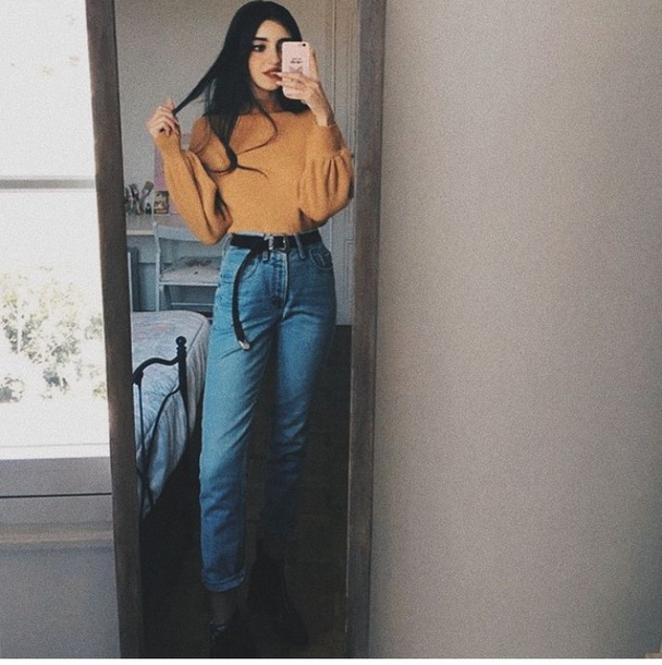 shirt yellow sweater pullover jeans blue denim belt black
