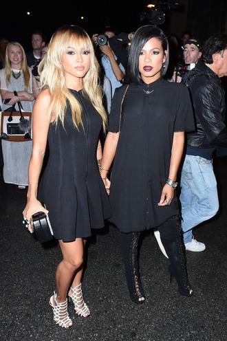 dress black dress karrueche sandals christina milian fashion week shoes
