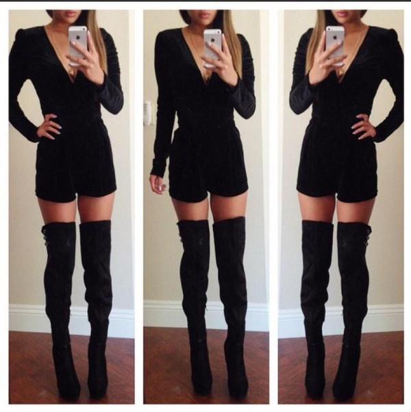 Romper: black, longsleeve shirt, high heels, boots, knee high ...