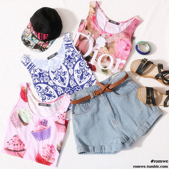 top cupcake navy white ice cream sandals jewels hat denim shorts cut offs jean cutoffs high waisted shorts