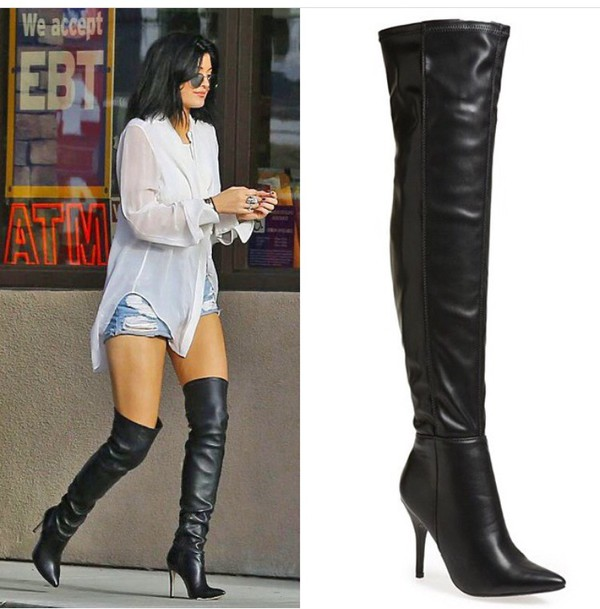 shoes kylie jenner boots black boots high heels boots