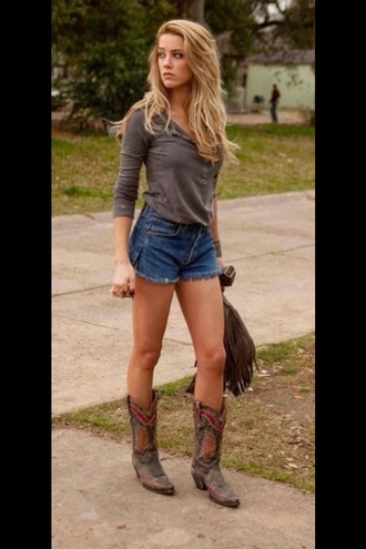 shorts grey cowgirl boot cowboy boots high waisted shorts high waisted levi's shorts shirt shoes dust brown brown country style long sleeves boots amber herd casual slouchy baseball shirt buttons t-shirt top amber heard trendy blouse button up tight fashion brown top button down shirt three-quarter sleeves vintage blonde hair