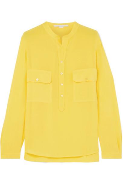 shirt silk yellow top