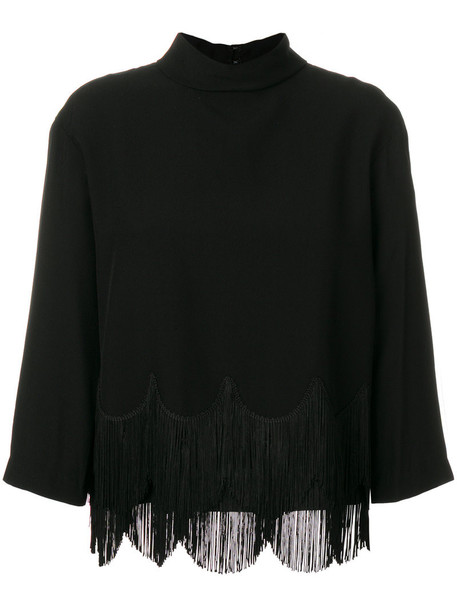 Marc Jacobs top fringed top women cotton black silk