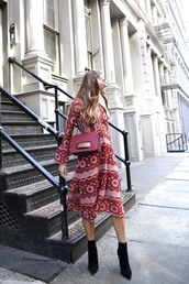 dress,tumblr,printed dress,midi dress,long sleeves,long sleeve dress,bell sleeve dress,boots,black boots,ankle boots,bag,red bag,fall outfits,fall dress