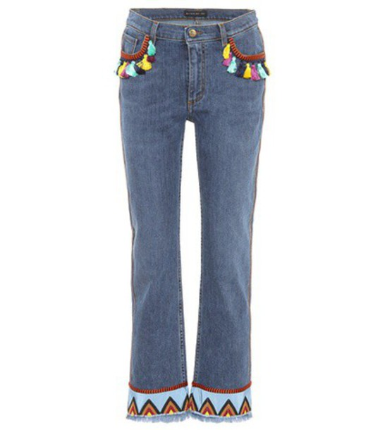 ETRO jeans embroidered jeans embroidered blue
