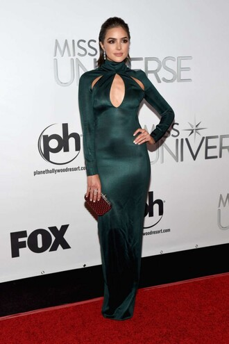 dress gown prom dress olivia culpo maxi dress bodycon dress long sleeve dress green dress