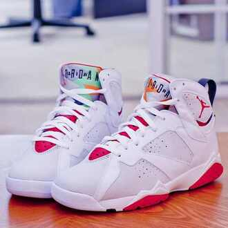 shoes jordans air jordan pink girl cute white retro jordans air jordans 7 jordan 7 nike jordan's redshoes air jordans hare 7's jordan sneakers hightop women dope martians