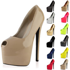 Ladies Peep Toe Concealed Platform Womens 7 Inch High Stiletto Heel Court Shoes | eBay
