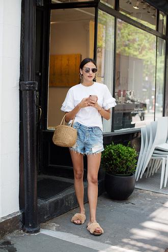shorts white top top denim denim shorts bag shoes