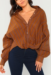 blouse,girly,girl,girly wishlist,brown,stripes,striped shirt,striped top,button up