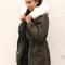 Jess storm flap parka with white fur trim in khaki