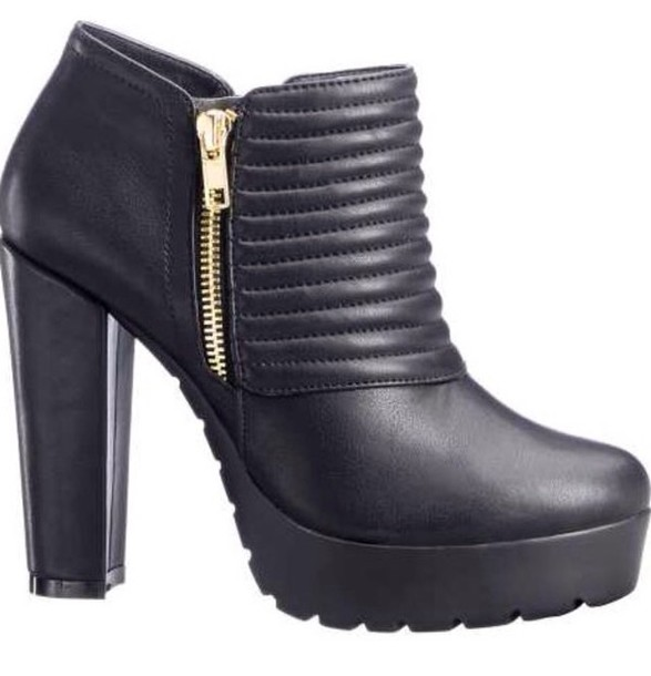 shoes booties quilted low boots high heels ankle boots wide heels zip