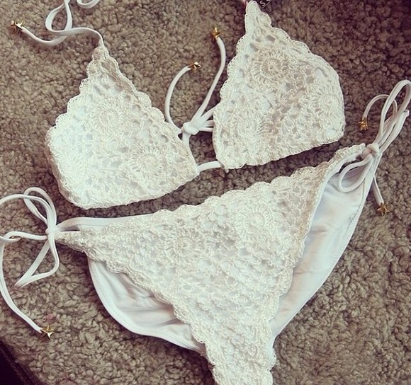 swimwear bikini white bikini white crochet bikini white crochet
